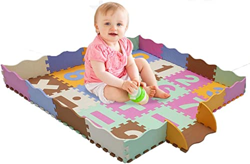 Baby Soft Eva Puzzle Schaumstoffmatte 16 Stück Für Krabbeln Mit Zaun Größe, Krabbeldecke Für Kinderzimmer Dekor Matte