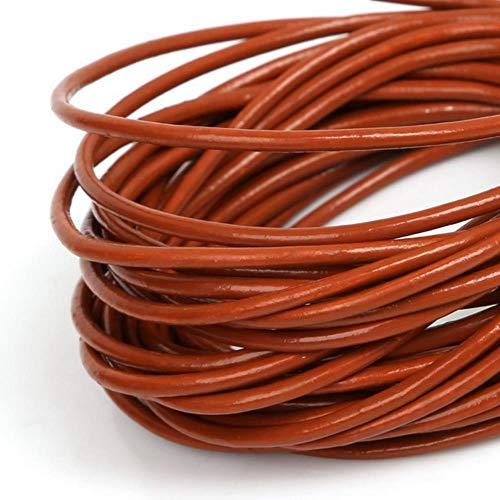 JPZCDK Práctico Cordón Alambre Cordones de Cuero Cuerda Redonda Cadena Fabricación de Joyas Pulsera de Alambre Collar DIY Accesorios artesanales, Marrón, 2 mm 5Metros