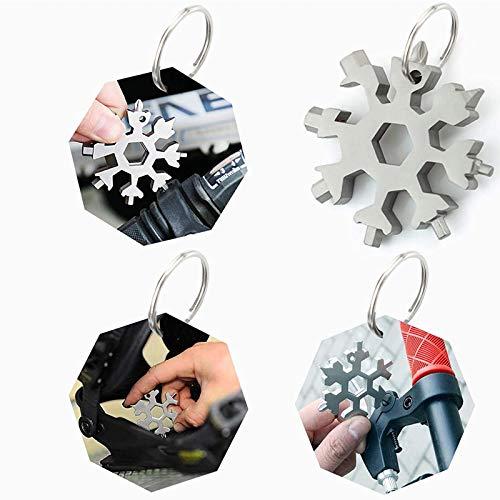 No Touch Door Opener Hand Tool - 18 in 1 Snowflake Multi-tool, Screwdriver -Bottle opener,Outdoor Wrench Multi-tool STANDARD/METRIC Snowflake Wrench Cool gadgets,Great Christmas gift (Silver)