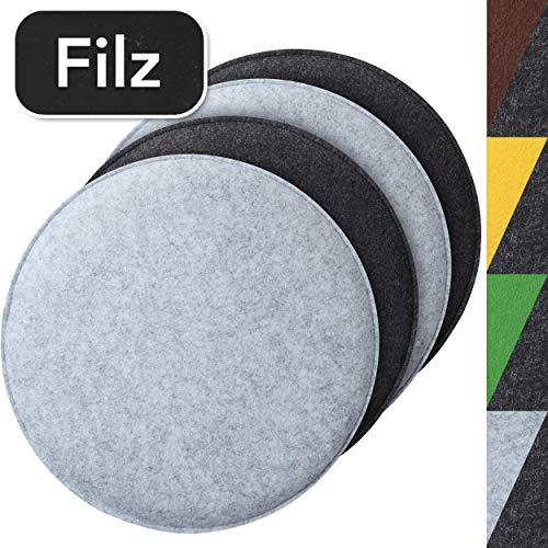 Sidorenko - Juego de 4 cojines de asiento redondos de fieltro, 34 cm de diámetro, en 4 colores 4 unidades Gris / gris claro.