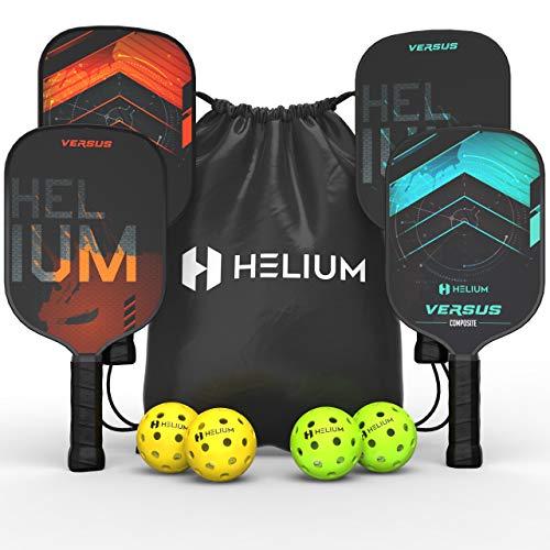 Helium Versus 4-Pack Pickleball Bundle - Honeycomb Core, Graphite Strike Face, Premium Comfort Grip - Set of Four Paddles, 2 Indoor Balls, 2 Outdoor Balls & Drawstring Bag