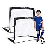 Limerlo Portable Soccer Goals for Backyard,Pop Up Football nets for Kids with Carry Case - 4' x 3' Sets of 2