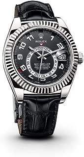 Rolex Sky Dweller Black Dial Black Leather Mens Watch 326139