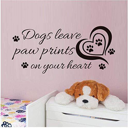 Hart Honden Laat Paw Muursticker voor Kinderen Babykamer Citaten Prints Op Je Hart Vinyl Muurdecoratie Huisdecoratie 93Cm X 43Cm