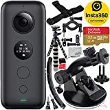 Insta360 ONE X Action Camera with 8PC Accessory Bundle – Includes: SanDisk Extreme 32GB microSDHC Memory Card + Suction Cup Mount + Gripster Tripod + Helmet Arm Mount Kit + Bike Mount Kit + More
