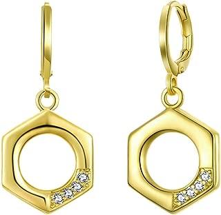 BLOOMCHARM Gold Jewelry Set Screw-Nut-Design CZ Gemstone Pendants for Women Girls