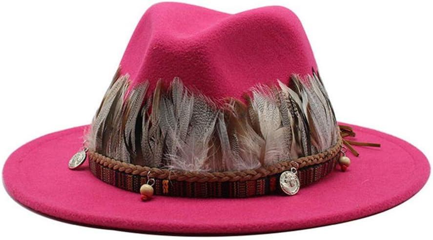 liyuzhu Soft Woolen Hat Wide Brim for Men Jazz Hat Fedora Hat Winter Panama Hat with Feather Tassel Decoration (Color : Magenta, Size : 59-61cm)
