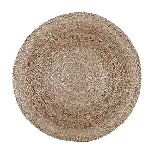 Woonkamertapijt, rond, jute, voor woonkamer, tafel, laag, handgeweven, in Scandinavische stijl, bureaustoel, kussen voor bed in de slaapkamer (grootte: diameter 120 cm) Diameter120cm