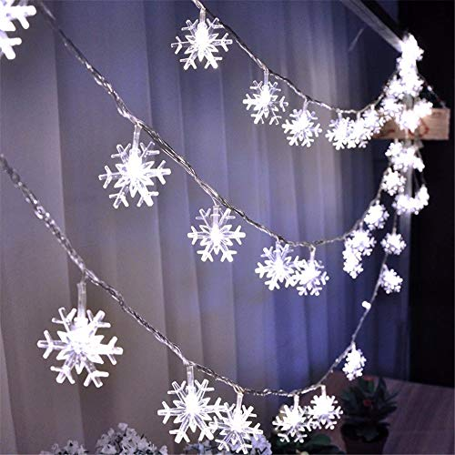 MULINN Christmas Snowflakes Shape String Lights Aa Battery Powered 40Led Light Strip Environmental Friendly Window Curtain Lights for Home Window Bathroom Wedding