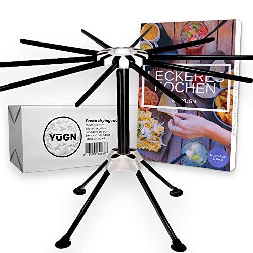 YUGN Secador de pasta de acero inoxidable. Contiene 10 brazos y es apto para lavavajillas. Para la fabricación de pasta y espaguetis.