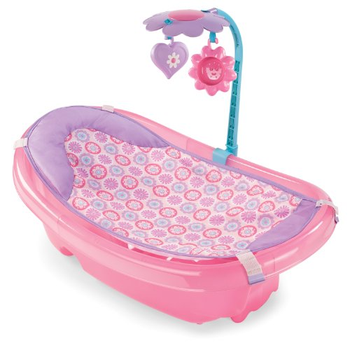 Summer Sparkle Fun Newborn-to-Toddler Baby Tub with Toy Bar, Pink