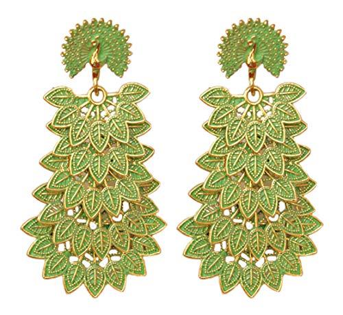 Pahal Pendientes largos de oro Jhumka de pavo real de la India del Sur de Bollywood de Bollywood con capas tradicionales pintadas en color verde