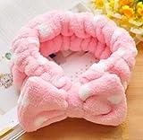 Diadema Elástica Arpoador Coral Velvet con maquillaje de cara, diadema cosmética, gran lazo de belleza adorable, encantador accesorio con pajarita para el pelo rosa
