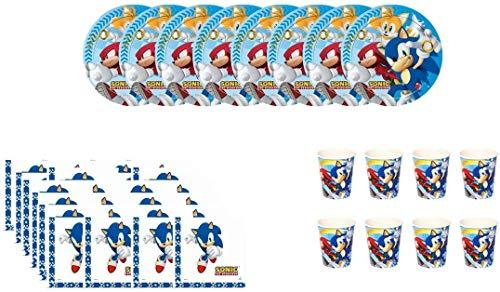 CAPRILO Lote de Cubiertos Infantiles Desechables Modern Sonic (8 Vasos, 8 Platos y 16 Servilletas) .Vajillas y Complementos. Juguetes y Regalos de Cumpleaños, Bodas, Bautizos y Comuniones.
