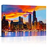 Canvas Wall Art - Chicago Skyline at Dusk Gallery - Modern Wall Decor Gallery Canvas Wraps Giclee Print Stretched and Framed Ready to Hang - 12' x 16'