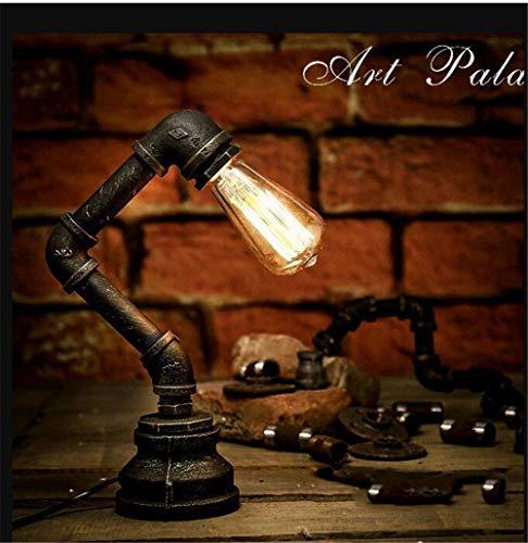 XZYP Steampunk-Lampe, ndustrielle Retro Style Rust Eisen Roboter-Rohr Sanitär Schreibtisch Tischlampe Licht mit roten Ventilhebel und Schalter