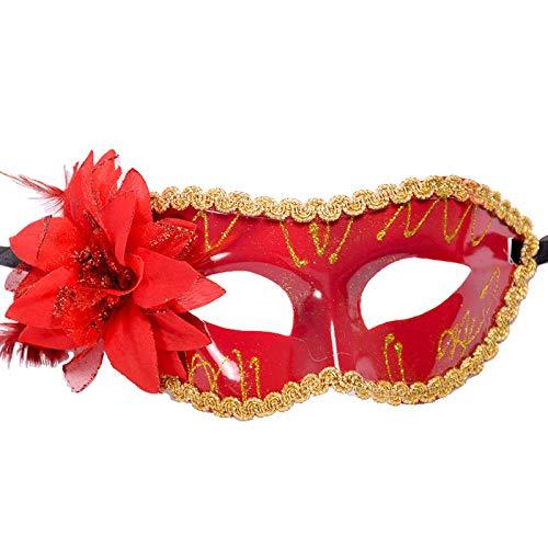 Watopi Mscara brillante con flor parpadeante dorado y plateado mscara veneciana mscara de encaje mscara de Halloween mscara de mscaras para carnaval fiesta de disfraces de bola Fancy Dres barras accesorio de disfraz de fiesta