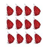 Windy City Novelties Cheerleader Pom Poms - 12 Pack (Red)
