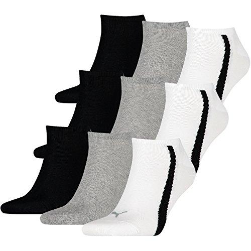 Puma Unisex Lifestyle Sneaker - 3x3 Paar (9er Pack) - white / grey / black (325) - 39-42