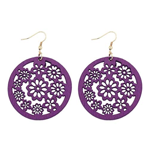 DFDLNL Womens Earring Sets Hoops Wooden Round Cut Plum Blossom Pendant For National Woman Earrings Gift purple
