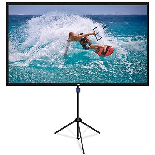 Pantalla de proyector con soporte para trípode, 80 pulgadas 4K HD 16:9 exterior/interior 1.1Gain 2 en 1 pantalla de proyector portátil