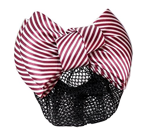 Ladies Beautiful Snood Net Barrette Hairnets Couverture de cheveux, Stripe Red #01