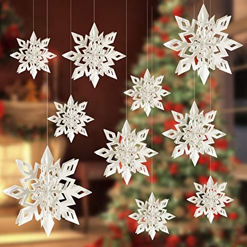 Alagirls 18 Stück Schneeflocken Girlande 3D Hängende Weihnachten Dekoration für Geburtstag Party Schaufenster Winter Weiß ALA-XMAS001-White