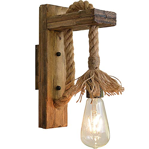 Lyghtzy Vintage Industrial Creative Lampada da Parete in Corda di Canapa Applique da Parete Interno per Camera da Letto Arredo Casa (L)
