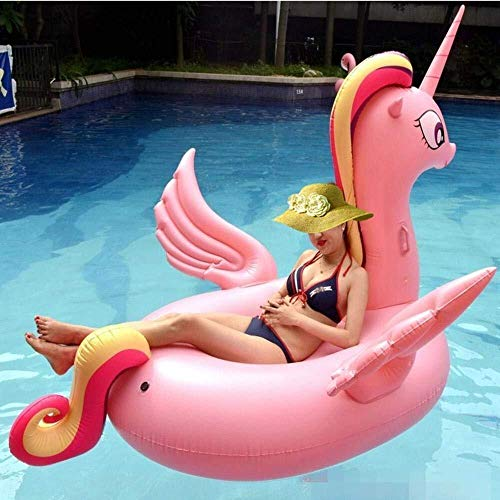 LCSD inflatable pool toys 2019 summer new adult pink unicorn floating row inflatable toy flamingo swan pineapple floating bed swimming ring water float toy -275 * 140 * 120cm