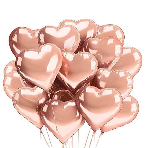 O-Kinee Palloncini Rosa Oro,30 PCS Palloncini Cuore 18 Pollici,Palloncini Cuore Stagnola,Palloncini Compleanno,per Addio al Nubilato,Baby Shower,Decorazioni per Matrimoni,San Valentino(Oro Rosa)