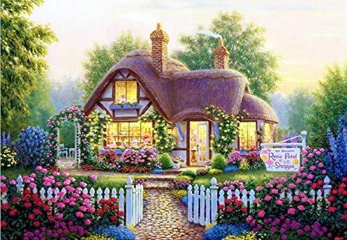 Diamante 5D'paisaje de cabaña de fantasía' bordado de diamantes redondo completo Diy pintura de diamante punto de cruz decoración del hogar A4 45x60cm