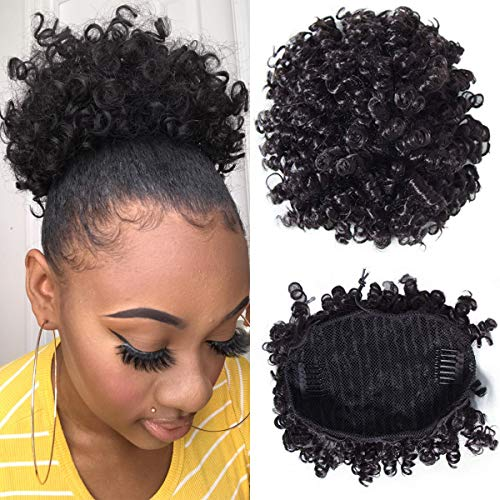 Longqibeauty Natural Curly High Puff Drawstring Ponytail Human Hair Clip In Updo Ponytails for African American Daily Use Natural Black Color 6 Inch