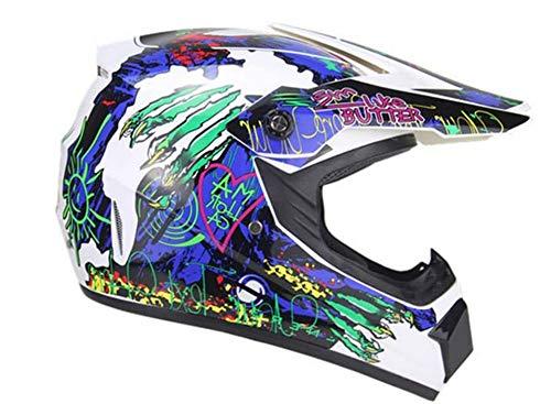 ZGYZ Juego de Cascos de Motocross ATV (5 Piezas) Cascos de protección para Motocicletas Todoterreno Enduro Quad MTB para Hombres y Mujeres, Blanco, Azul/Graffiti