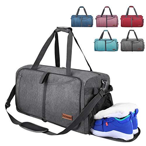 CANWAY Faltbare Reisetasche Leicht Sporttasche mit Abnehmbar Schulterriemen & Schuhfach Reisegepäck für Reisen Sport Gym Urlaub (Grau, 115L)