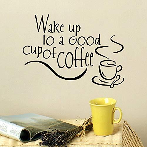 Wecken Sie eine gute abnehmbare Kaffeetasse DIY Wohnkultur Vinyl Küche Wandaufkleber36cmx25cm