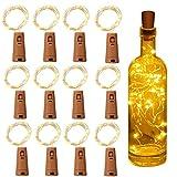 Luz de Botella, Yizhet 12 Piezas Luces para Botellas Luz Botella Corcho LED Luces Botellas de Vino 2m 20 LED Guirnaldas Pilas Luminosas Decorativas Luz para Boda Navidad Fiesta Jardín (Blanco Cálido)