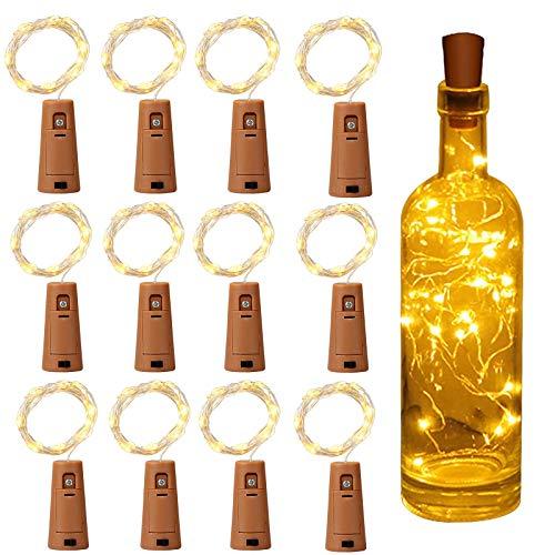 Luz de Botella, Yizhet Luz Botella Corcho, 12 Piezas LED Luces Botellas de Vino 2m 20 LED Guirnaldas Pilas Luminosas Decorativas Cobre Luz para Boda, Navidad, Fiesta, Jardín (Blanco Cálido)
