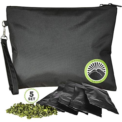 Upgraded 2020 Smell Proof Bag with Lock - Odor Proof Bag - Dog Tested Bags 11x9 - Best Odor Proof Pouch Zipper on top Smell Proof Case for Herbs Coffee Oils 5 Sealed Baggies - Smell Proof Container