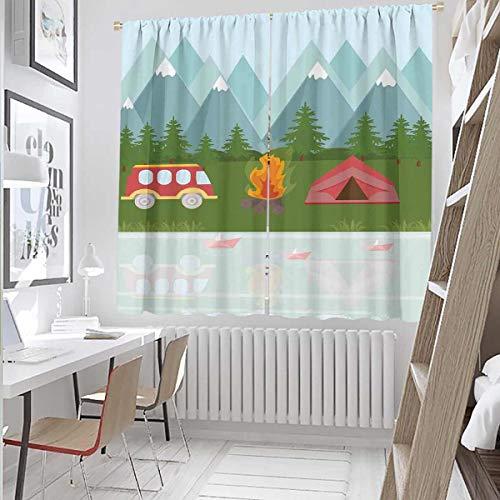 Hengshu Cortinas Paneles de 84 pulgadas de largo Carpa de Caravana Multicolor Exuberante Decoración Cortinas para Hostel 72 x 84 pulgadas