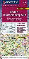 Baden-Wuerttemberg Sued, Schwarzwald, Bodensee, Schwaebische Alb, Allgaeu 1:125 000: Grossraum-Radtourenkarte 1:125000, GPX-Daten zum Download
