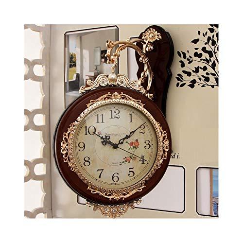 XMBT Premier Housewares Pendulum Wall Clock,Reloj de Pared de decoración silenciosa con números Romanos Vintage Dormitorio Sala de Estar Decoración Relojes de Cuarzo Reloj de Pared Moderno