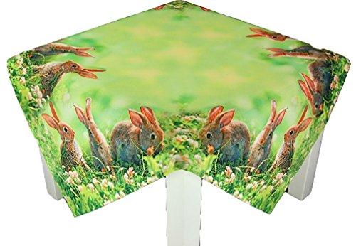 Tischdecke Eckig Ostern 3 Hasen Wiese Fotodruck modern Polyester Osterdecke Ostertischdecke (Mitteldecke 85x85 cm)