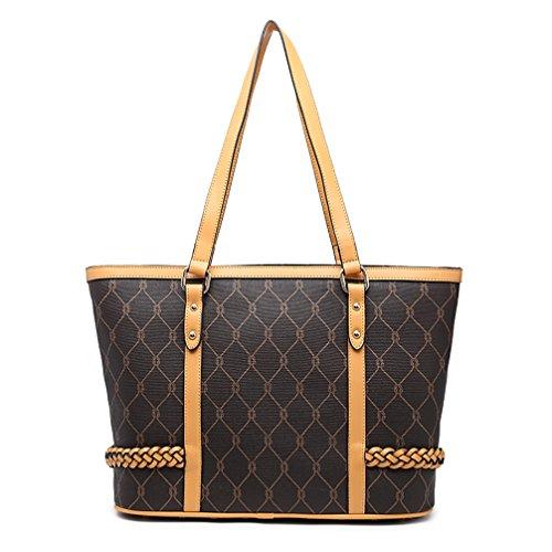 VANCOO Sacchetto di spalla di cuoio della borsa nera delle donne di modo Acquista grande sacchetto di spalla della borsa di spalla di grande capacità (Black)