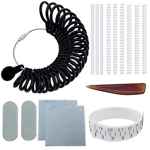 NIUPIKA Set Formato del Polso Striscia Misura Calibro Anelli Anelli Dimensioni regolatore Set Spirale Silicone Tightener Kit con Panno Agata Burnisher