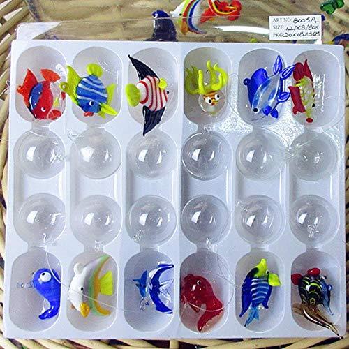 THREE 12 unids Custom soplado a Mano Murano Vidrio Flotante Peces Tropicales Mini Figuras decoración del Acuario Colgante de Cristal estatuas de Animales, Rojo