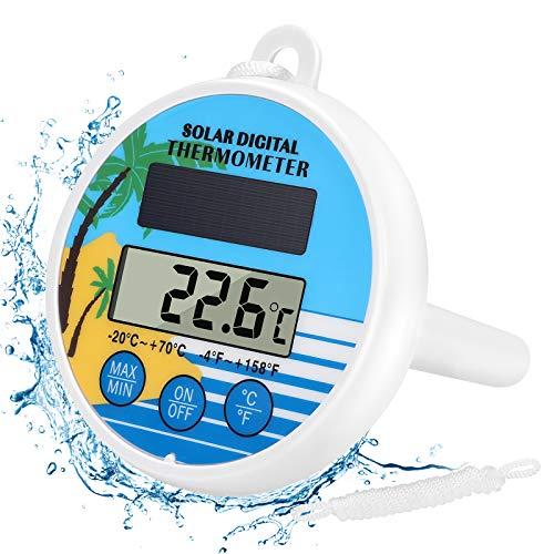Gafild Digitales Pool Solarthermometer,solar Floating Pool Thermometer einfach zu lesen und bruchsicheres Thermometer für alle Schwimmbäder, Spas, Whirlpools und Teiche