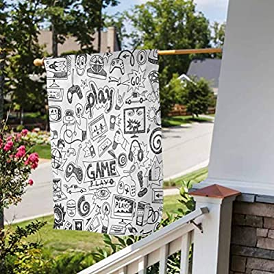 """ScottDecor Video Games Decorative Lawn Flag Outdoor Funny Decorative Flags Monochrome Sketch Style Gaming Design Racing Monitor Device Gadget Teen 90s Black White House Size-28 by 40"""" by ScottDecor"""