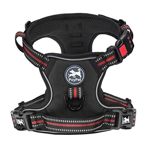 PoyPet Hundegeschirr, kein Ziehen am Hals, reflektierend, verstellbar, kein Würgen, mit 2 Leinenbefestigungen, weicher Griff, für kleine, mittelgroße und große Hunde (schwarz, S)