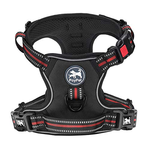 PoyPet No Pull Dog Harness, [Release on Neck] Reflective Adjustable No Choke Pet Vest with Front & Back 2 Leash Attachments( Black+Red,S)
