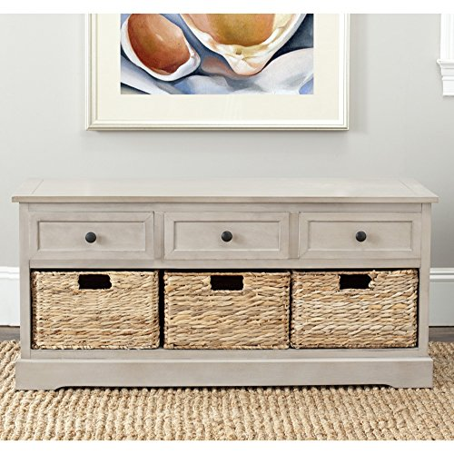 Safavieh AMH5701A American Homes Collection Damien 3 Drawer Storage Unit, Vintage Grey